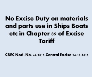 No Excise Duty on materials parts use in Ships Boats etc in Chapter 89 of Excise Tariff