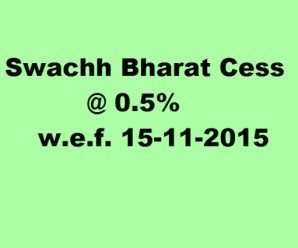 Swachh Bharat Cess @ 0.5% leviable with effect from 15-11-2015