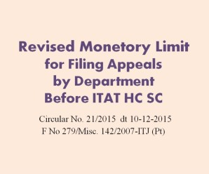 Revised monetory limit of Tax Effect for filing appeals by Department before ITAT HC SC