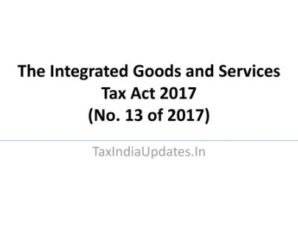 The Integrated Goods and Services Tax Act 2017 (No. 13 of 2017)